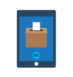 smartphone with voting app on the screen vector image