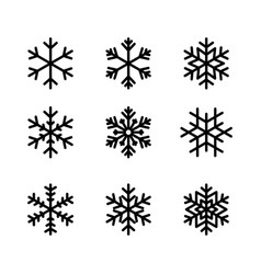 snowflake winter set black isolated nine icon vector image