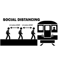 Social distancing 15m meters apart when boarding vector