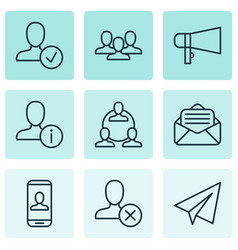 social icons set with staff open envelope vector image