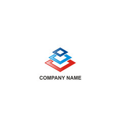 square colored construction abstract company logo vector image