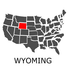 state wyoming on map usa vector image