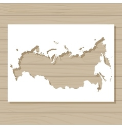 stencil template of Russia map on wooden vector image