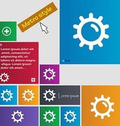 Sun icon sign Metro style buttons Modern interface vector