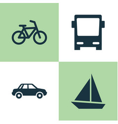 Transport icons set collection of bicycle yacht vector