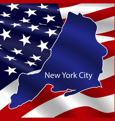 united states new york city on usa flag background vector image