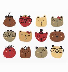 variety bear faces set vector image