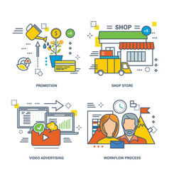 video advertising e-commerce promotion workflow vector image