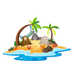 walrus and crabs on island vector image