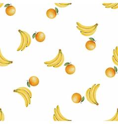 Watercolor pattern fruit banana and orange vector