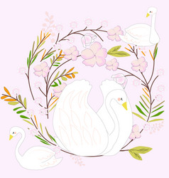 white swan cartoon the pink sweet flower frame vector image