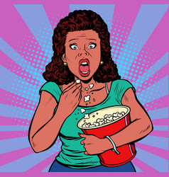 Woman watching a scary movie and eating popcorn vector