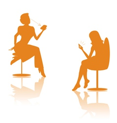 women on cell silhouettes vector image