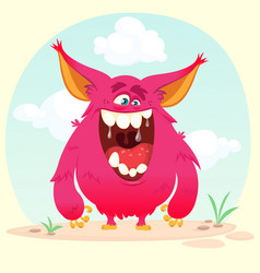 Cartoon angry monster vector