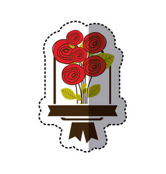 color decorative emblem with rounds roses icon vector image