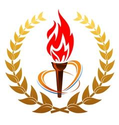 flaming torch in laurel wreath vector image vector image