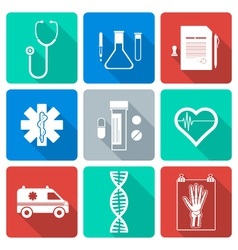flat style white silhouette medical icons set vector image vector image