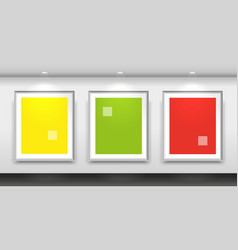 gallery interior with three blank white frames on vector image