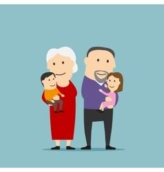 Happy grandparents family with grandchildren vector image vector image