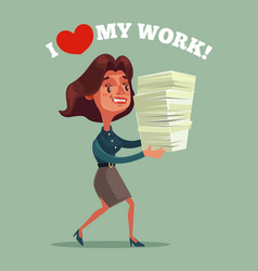 happy smiling business woman office worker mascot vector image vector image