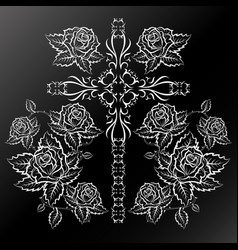 roses and cross silhouettes vector image vector image