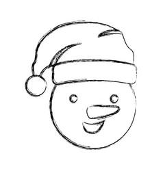 silhouette blurred face cartoon snowman christmas vector image vector image