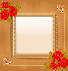Vintage background with a gold frame and vector image vector image