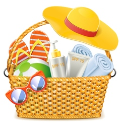 Wicker Basket with Beach Accessories vector image