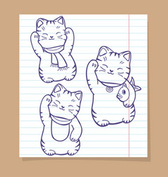cute japanese cats sketch set vector image