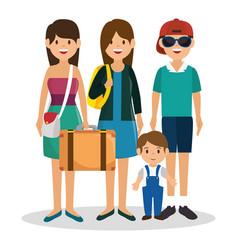 family vacations avatars icon vector image