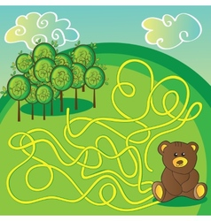 Maze game or activity page Help the bear to vector image