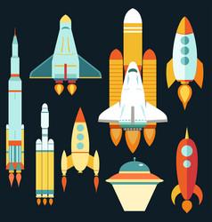 rocket ships start up flat style set vector image