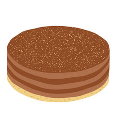 trendy hipster cheesecake or chocolate pie in flat vector image