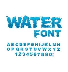 Water font Aqua alphabet Drops of water ABC Wet vector image