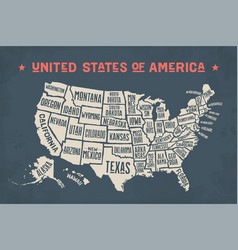 poster map united states of america with state vector image
