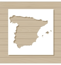 stencil template of Spain map on wooden background vector image