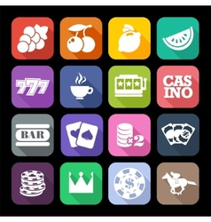 The set of flat casino icons with long shadow vector image vector image