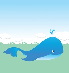 big blue whale vector image vector image