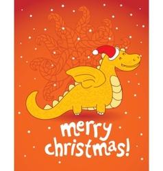 christmas dragon vector image vector image