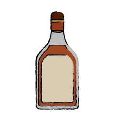 drawing tequila bottle alcoholic beverage vector image vector image