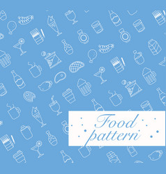 food icons set seamless pattern vector image vector image