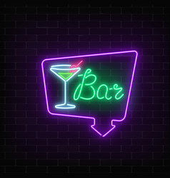 neon cocktails bar or cafe sign in frame with vector image vector image
