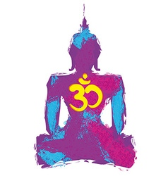 Silhouette of a buddha and om symbol vector