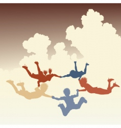 skydiving friends vector image vector image