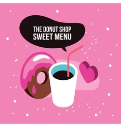 Sweet menu Delicious dessert chocolate donut syrup vector image vector image