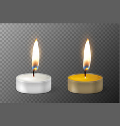 3d burning realistic candle light or tea vector image