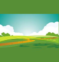 A serene landscape beautiful summer dawn green vector