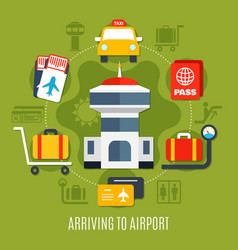 airport passenger service flat poster vector image