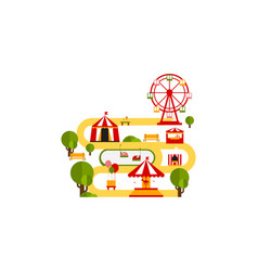 Amusement park attractions circus tent ferris vector