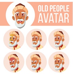 arab muslim old man avatar set face vector image